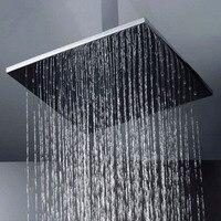 Уникальный 16 дюйм(ов) 400x400 Дождь душ площадь ss щеткой Для ванной кран верхний душ опрыскиватель