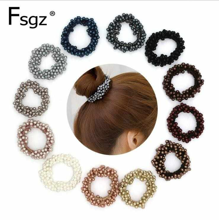 Fashion Pearls Hair Gum Quality Beads Elastic Hair Bands For Women Solid Pearl Hair Ring For Pony Tail High Elastic Rubber Bands