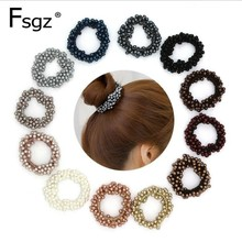 Fashion Pearls Hair Gum Quality Beads Elastic Bands For Women Solid Pearl Ring Pony Tail High Rubber
