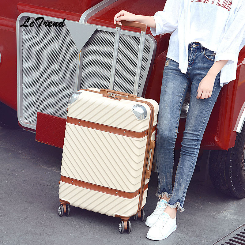 Letrend Women vintage Rolling Luggage Spinner Suitcases Wheel Trolley Travel Bag Student Carry on Luggage password Hardside