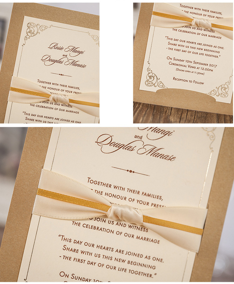 Vertical Gold Wedding Invitation Card, Business Invitations ...