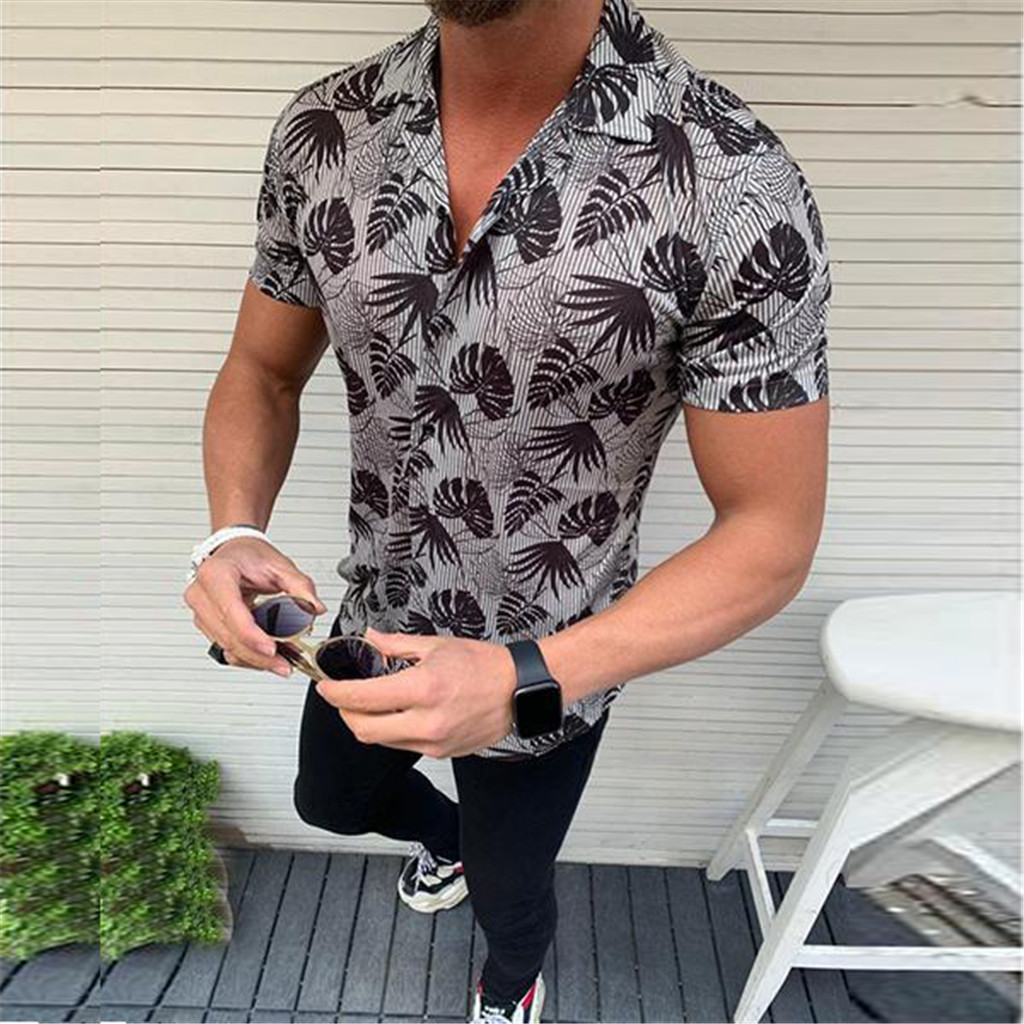 Fashion! Mens New Casual Euro-American Style Patchwork Lapel Short Sleeve T-Shirt Tops for Summer