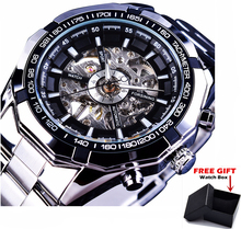 Forsining Brand Silver Stainless Steel Mens Skeleton Automatic Mechanical Watch Clock Relogios Montre