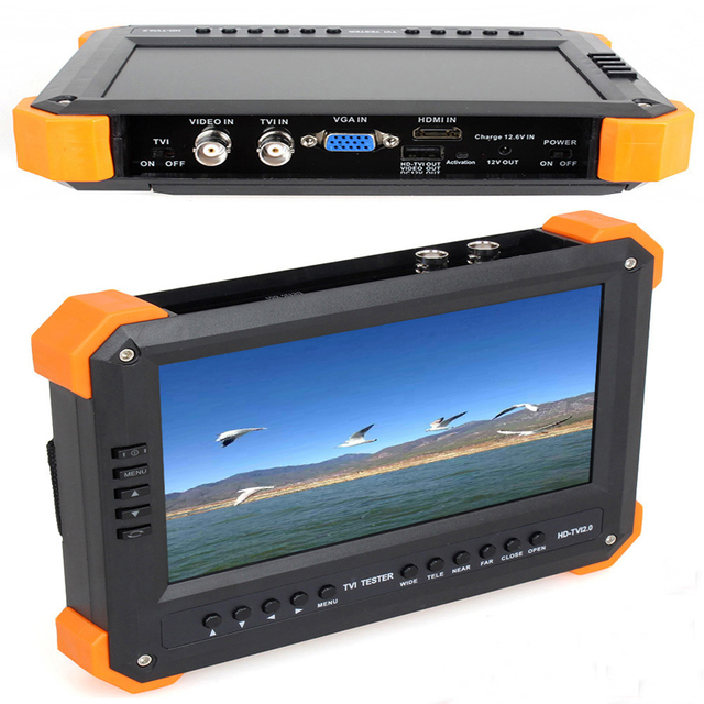 kaycube 7 Inch TVI AHD Camera Tester CCTV Tester Monitor Analog HD TVI2.0 AHD2.0 1080P Camera Testing VGA HDMI Input X41TA