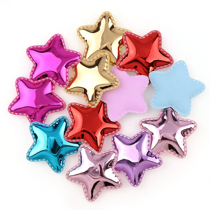12Pcs <font><b>50mm</b></font> Mix Fluorescence Color PU Leather Lovely Star <font><b>Felt</b></font> Fabric Patches For Clothes DIY Scrapbooking Accessories image
