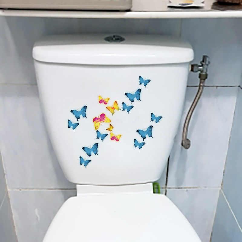 YOJA 22X16.9 ซม. ผีเสื้อบินกลุ่ม WC ห้องน้ำตกแต่งน่ารักการ์ตูนห้องนอนเด็กติดผนังสติกเกอร์ T1-2291