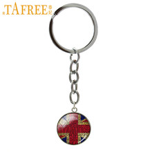 TAFREE Trendy round men jewelry keychain British Flag Old London Flag art picture pendant jewelry key chain gift for men NS433(China)