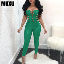 MUXU sexy green jumpsuit women elegant europe and the united states jumpsuits rompers ladies bandage backless bodysuit