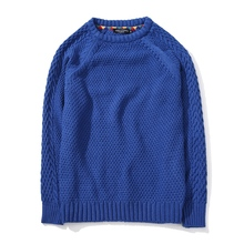 New Autumn Winter Men Elastic Twist Sweater Solid Knitted Long Sleeve O-neck Pullovers Male Blue Red Fashion Casual Sweatwer Man