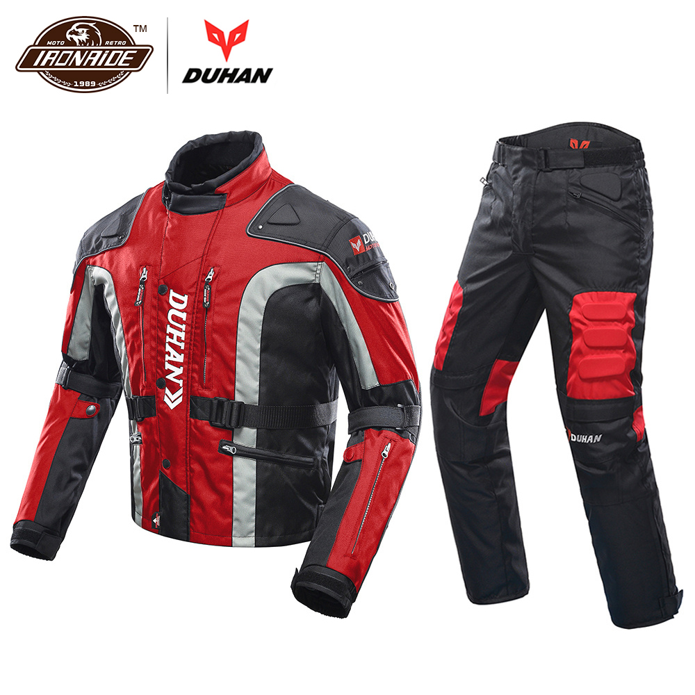 DUHAN Autumn Winter Cold-proof Motorcycle Jacket Moto+Protector Motorcycle Pants Moto Suit Touring Clothing Protective Gear Set duhan motorcycle jacket motorcycle pants suit autumn winter cold proof waterproof touring chaqueta moto protective gear