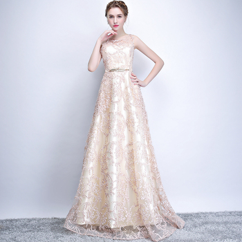 New 2019 Evening Dress Elegant Banquet Champagne Lace Sleeveless Floor-length Long Party Formal Gown plus size Robe De Soiree 6