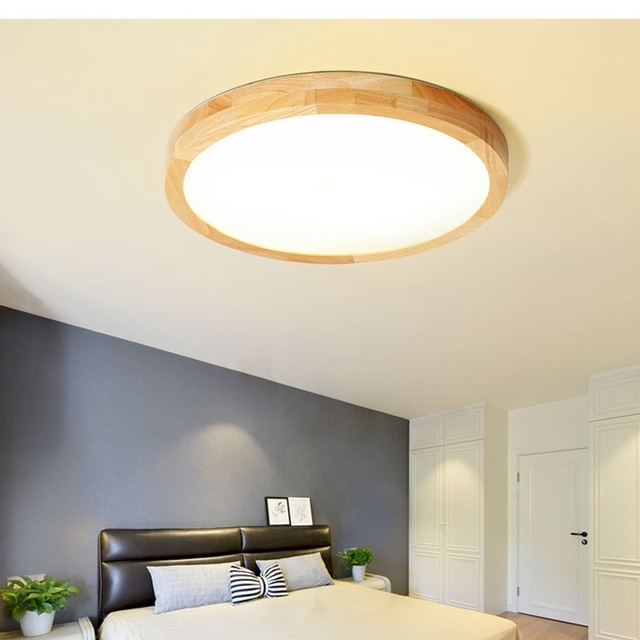 LukLoy Nordic Round Solid Wood LED Ceiling Light Japanese Style Log Bedroom Living Room Lamp modern Minimalist LED Ceiling Lamp