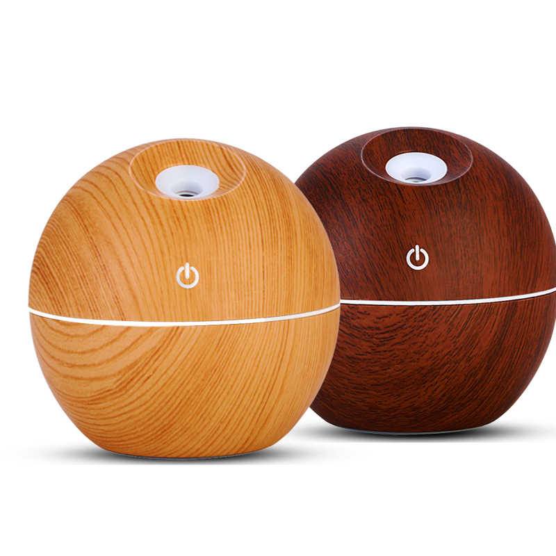 USB Wood Grain Essential Oil Diffuser 130ml Ultrasonic Humidifier Household Aroma Diffuser Aromatherapy Mist Maker with LED