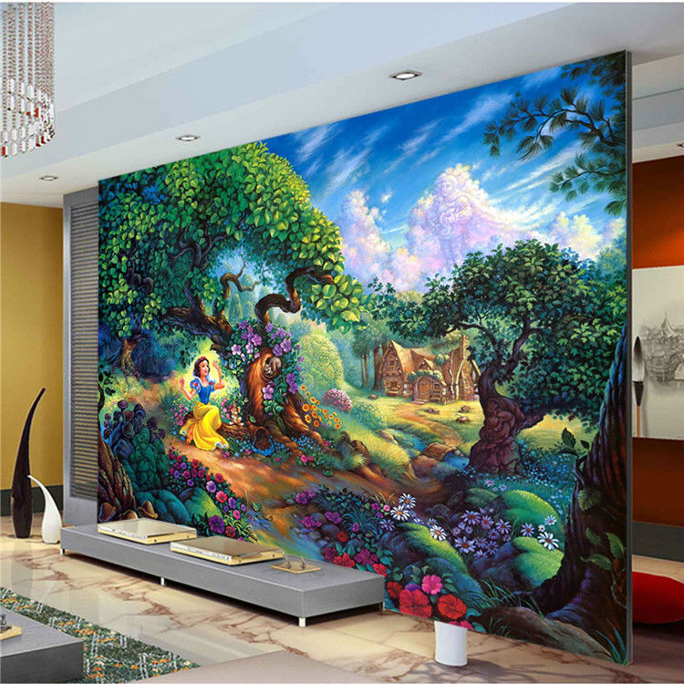 Buy snow white photo wallpaper girls room for Bedroom mural painting