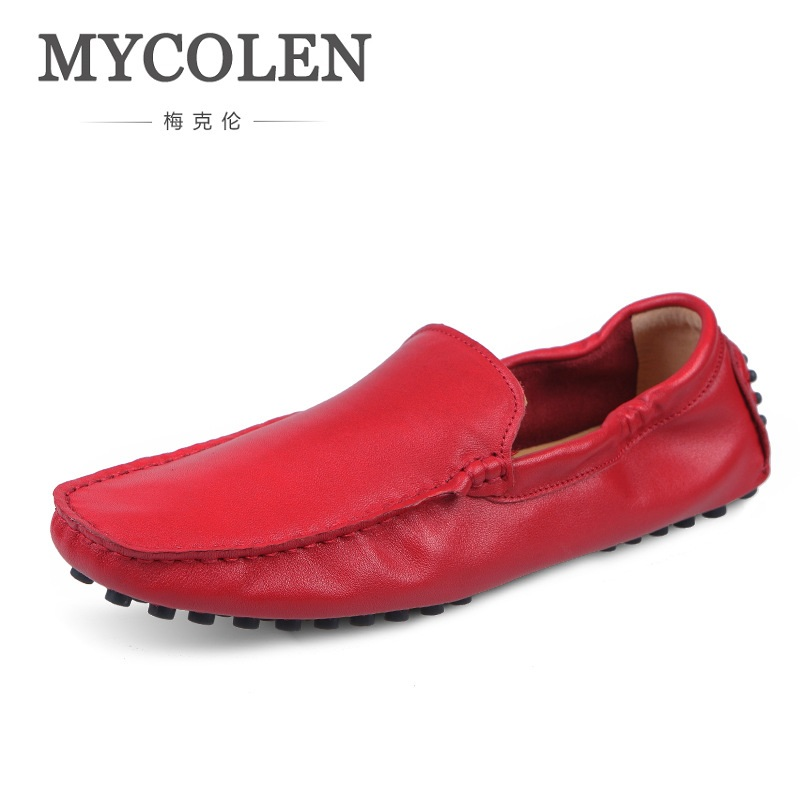 MYCOLEN Spring High Quality Genuine Leather Shoes Men Flats Fashion Loafers Mens Flats Slip On Driving Shoes Male Brand Shoes hot sale mens italian style flat shoes genuine leather handmade men casual flats top quality oxford shoes men leather shoes