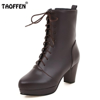 Women Vintage Thick Heel Ankle Boots Female Pointed Toe Martin Shoes Fashion Lace Up Heels Woman