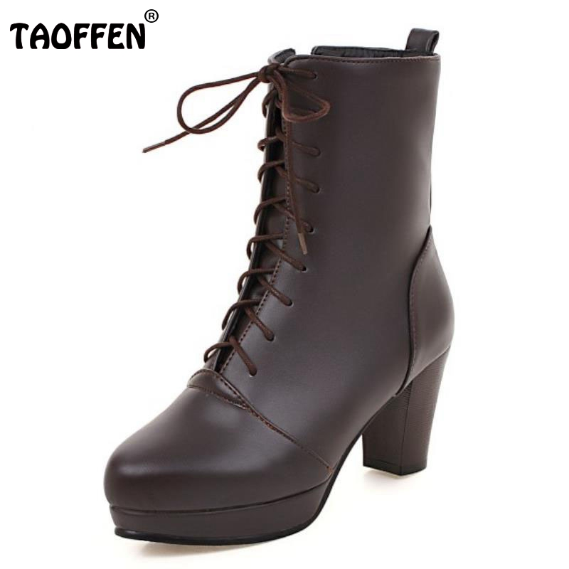 TAOFFEN Women Vintage Thick Heel Ankle Boots Female Pointed Toe Martin Shoes Lace Up Heels Woman Shoes Footwear Size 33-43 facndinll shoes 2017 genuine leather women ankle boots sexy thick high heels pointed toe lace up shoes woman dress party shoes