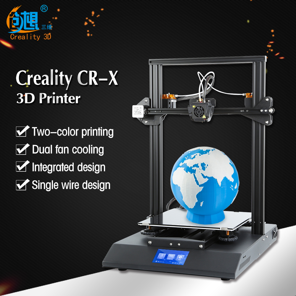 2018 CR-X 3D-принтеры двойной-цвет сопла DIY KIT Сенсорный экран большой размер печати Dual Fan Прохладный Creality 3d CR-X n 2 кг нити Подарок