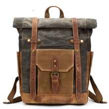 цена на Travel Men's Backpack Camera Bag Retro Genuine Leather Canvas Bag Portable Waterproof Backpack Shoulder Wax