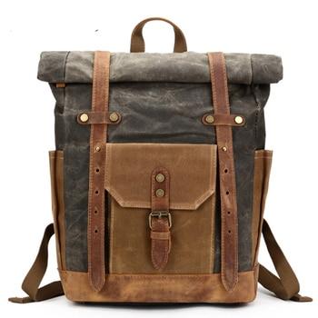 Travel Men's Backpack Camera Bag Retro Genuine Leather Canvas Bag Portable Waterproof Backpack Shoulder Wax