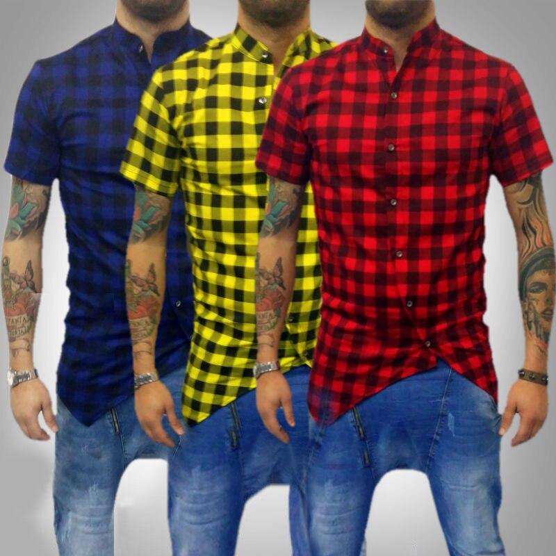 Men Casual Plaid Shirt Short Sleeve Male Shirt Camisas Hombre Masculina XS-4XL Casual Cotton Slim Fit Mens Shirts