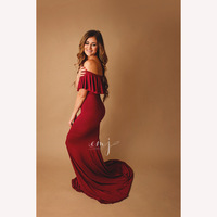 Maternity Dresses For Photo Shoot Slash Neck Stretchy Cotton Pregnant Gown Jersey Pregnancy Dress Photography Clothes