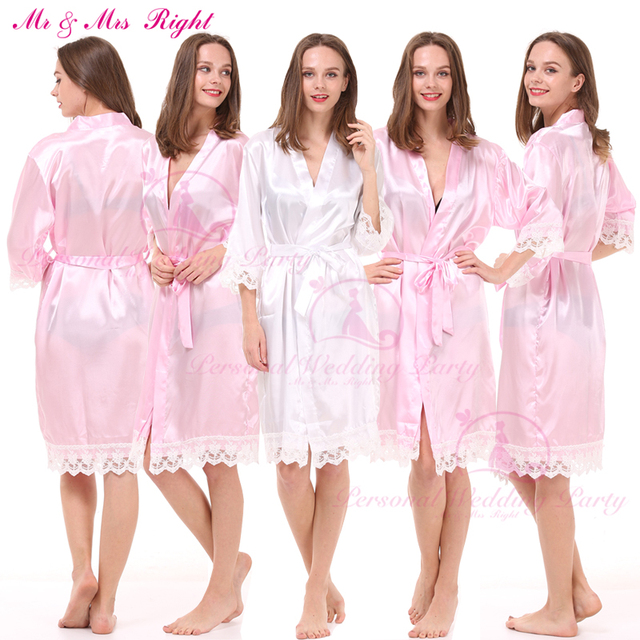 Moda vestido de Novia de Encaje Batas de Baño Sólido Suave Kimono Albornoces Ropa de Dormir de la Boda Sexy Stain Vestido de 8 Colores