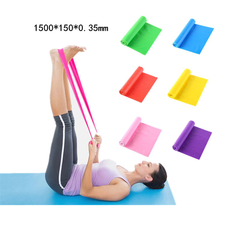 150cm Yoga workout Resistance Band Natural fitness band Health Elastic Exercise Body Latex Stretch sport Pull Strap