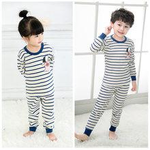 Для маленьких мальчиков девочек с надписью полосатые пижамы Пижама хлопка  Детские пижамы для подростков 2- 0135178ce3946