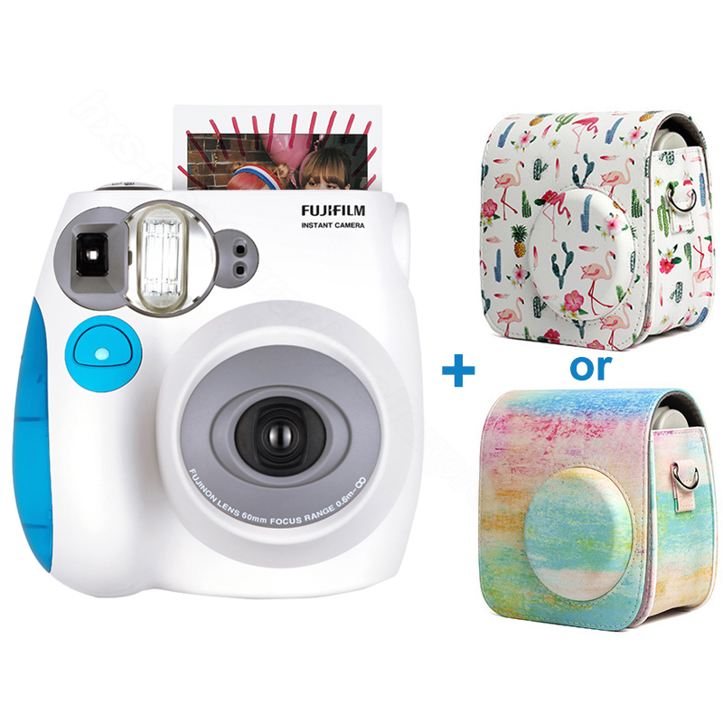 Véritable Fujifilm Instax Mini 7 s Instant Photo Film Caméra, Accepter Fuji Instax Mini Film, avec PU Cuir Épaule Transport Sac