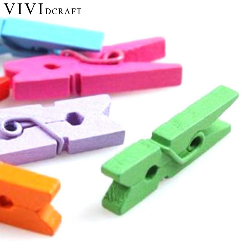 Vividcraft 25MM 50pcs/100pcs Mini Clips Colorful Wooden Clothes DIY Photo Paper Clips Sets Cloth Craft Clips Office Accessories