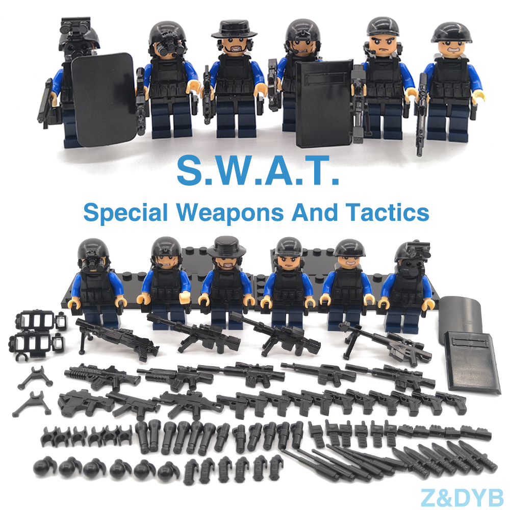 625PCS/Sets SWAT Team City Police Military Figures Soldier Army Gun Weapon Modern War Build Block Brick legoed For Children Toy-in Blocks from Toys & Hobbies