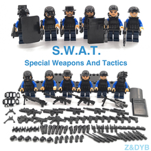625PCS/Sets SWAT Team City Police Military Figures Soldier Army Gun Weapon Modern War Build Block Brick legoed For Children Toy