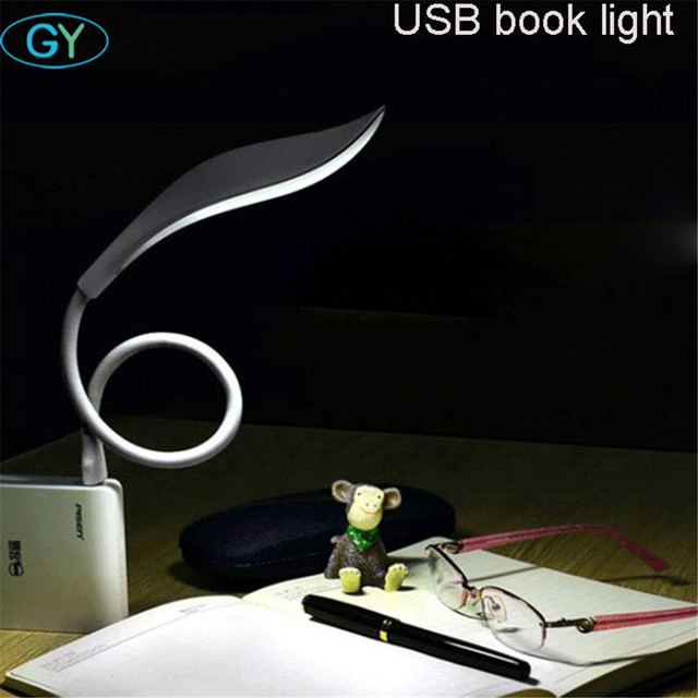 2.8W touch dimmable led book light USB plug and play 2W portable reading lamp white gooseneck flexible led dimming night lamp