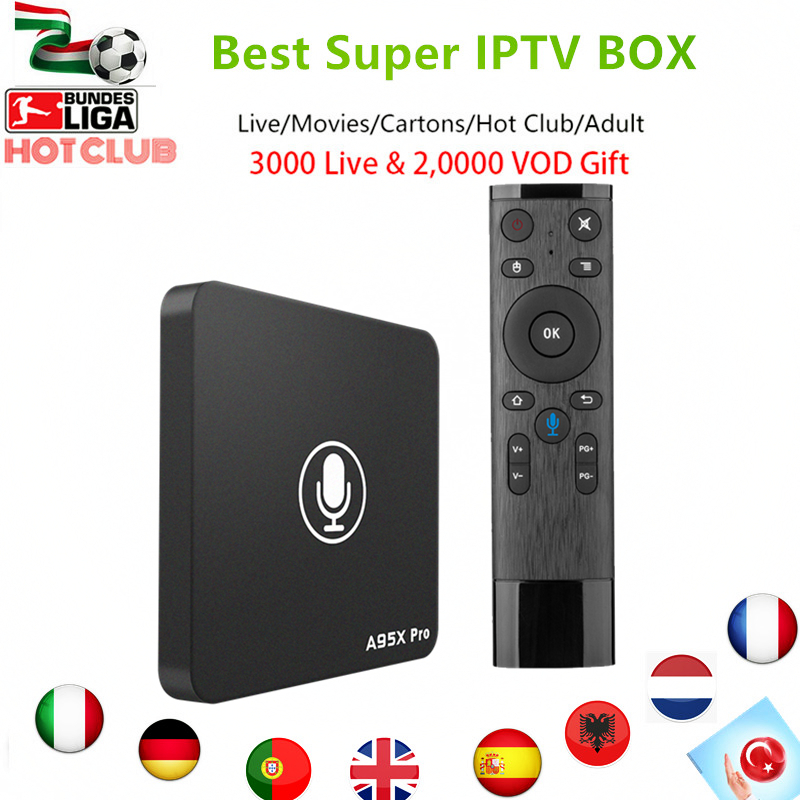 Italy Super IPTV A95X PRO Android TV box 7.1+Voice Control 3000+live 20000 channels hot xxx adult Germany UK smart tv top box italy iptv a95x pro voice control with 1 year box 2g 16g italy iptv epg 4000 live vod configured europe albania ex yu xxx
