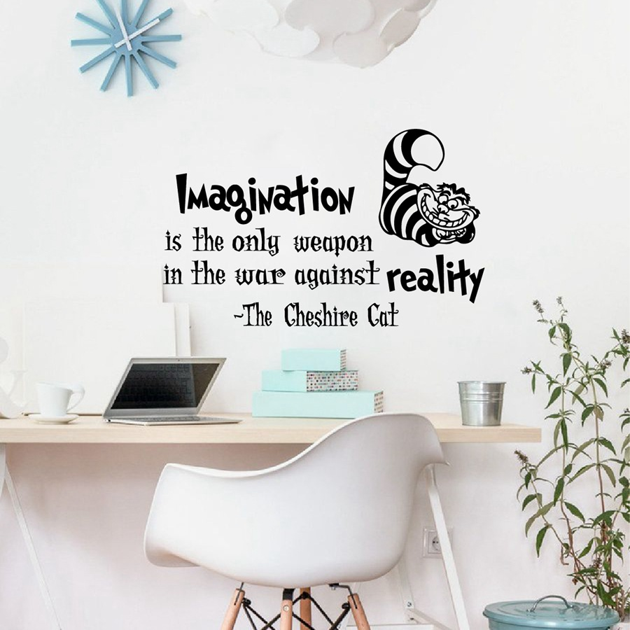 Alice In Wonderland Cheshire Cat Vinyl Wall Art Decal Kids Room Decor Diy Wallpaper Removable Stickers From Home Garden On
