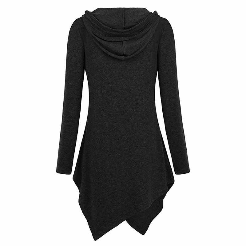 Otoño 2019 Casual más tamaño negro gótico Streetwear mujeres sudaderas holgadas con capucha liso asimétrico Tops mujer otoño sudaderas