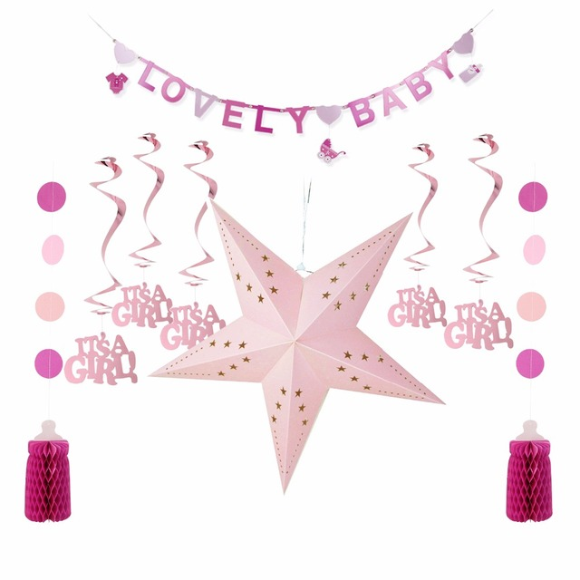 Sunbeauty 5pcs Set Baby Girl Happy Birthday Decoration Pink Theme Shower Kids DIY