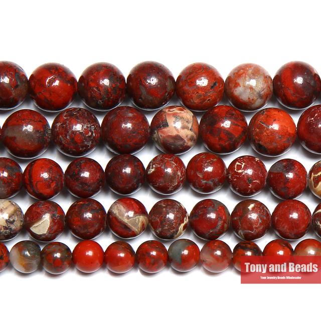 """Free Shipping Natural Stone Red Brecciated Jaspers Round Beads 15"""" Strand 6 8 10"""