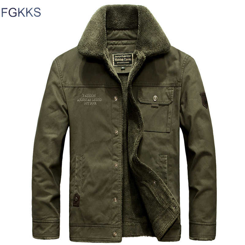 FGKKS Men Army Military Jacket Coat 2019 Winter Male Warm Casual Jackets Outerwear Men's Fashion Bomber Jackets Coats