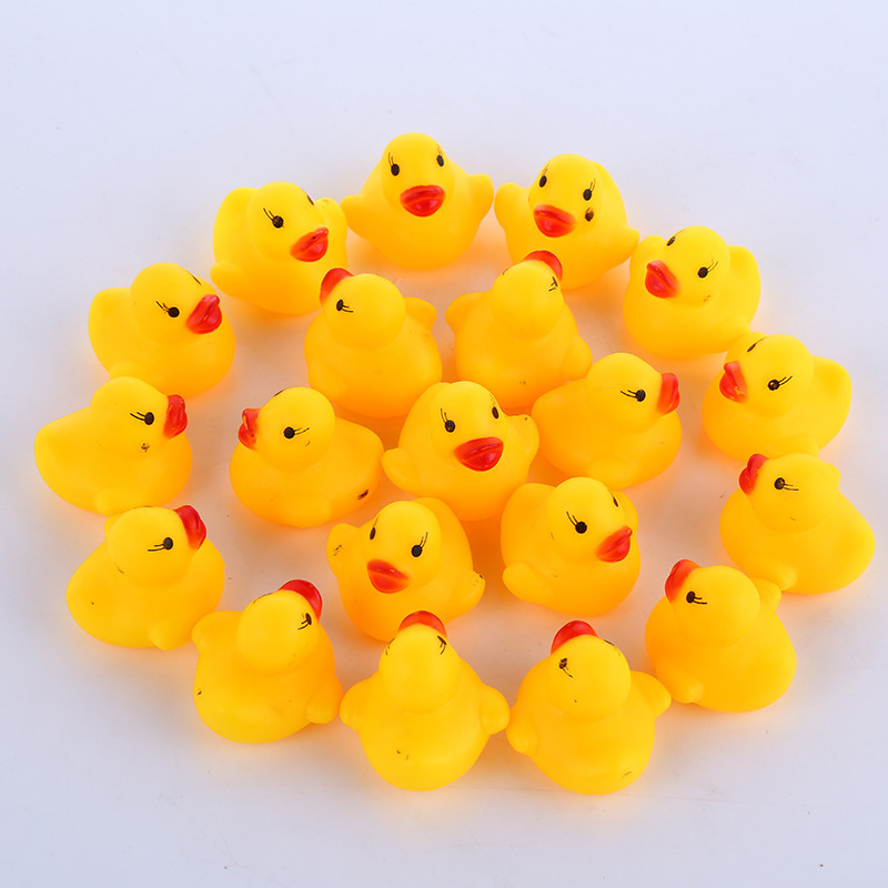 Little Yellow Ducks BalleenShiny 10pcs/lot Baby Water Bathing Toys Funny Squeezed Sound Mini Shower Float Rubber for Kids