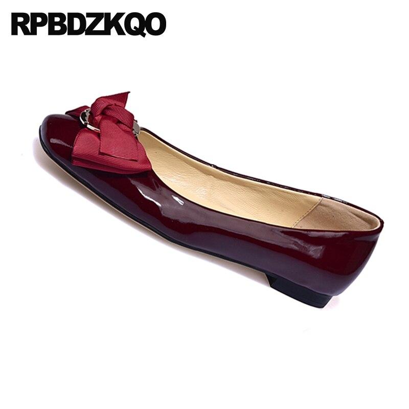 Réel Mignon Vin noir Qualité Femmes Chaussures Bowtie Véritable Chine Haute Rouge Bout Cuir En vin Avec Verni Peu Métal Appartements Arc Chinois Carré Apricot vaCnqdBw