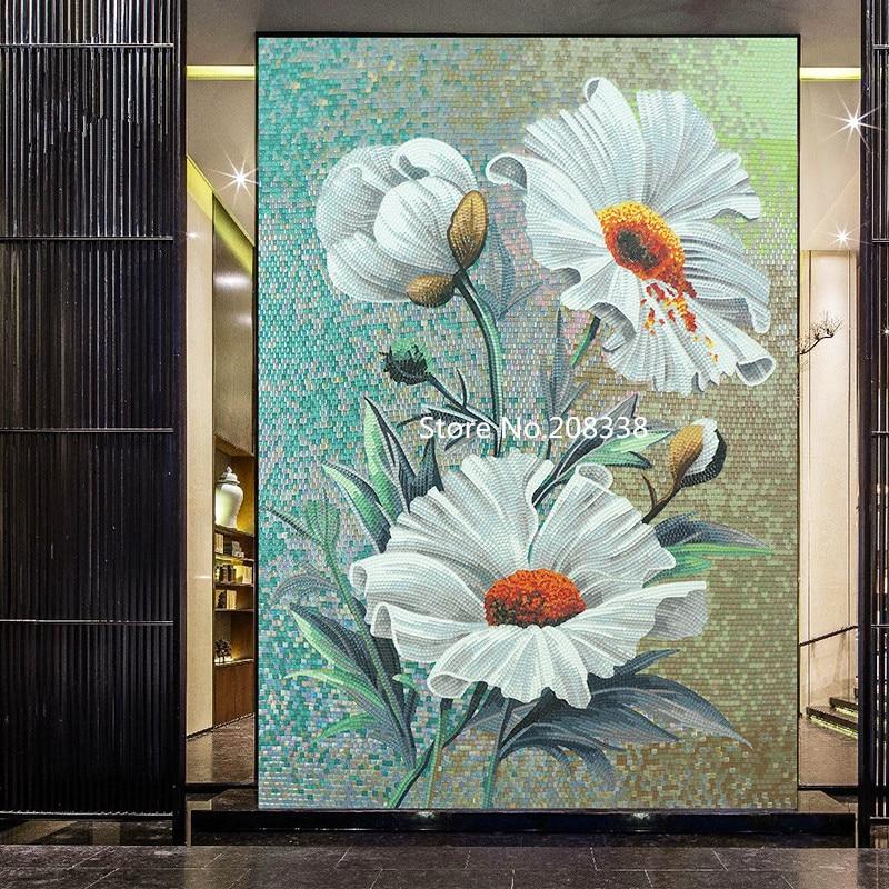 Стеклянная мозаичная роспись для декора стен мозаика из стекла Rosa laevigata Цветочные художественные плитки - 3