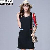 Large Size Summer Dresses For Fat Summer New Color Stripe Mosaic Thin V Collar Summer Dresses