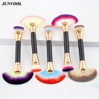 5 Unids Gran Forma de Abanico Duplicó Terminó Pro Cosmético de la Cara Maquillaje Herramienta Pinceles de Maquillaje Contorno Highlighter Powder Foundation Brush