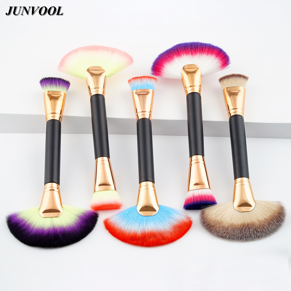 5Pcs Large Fan Shape Makeup Brushes Doubled Ended Pro Face Cosmetic Make Up Tool Foundation Powder Contour Highlighter Brush new design stamp seal shape face makeup brush foundation powder blush contour brush cosmetic facial brush cosmetic makeup tool
