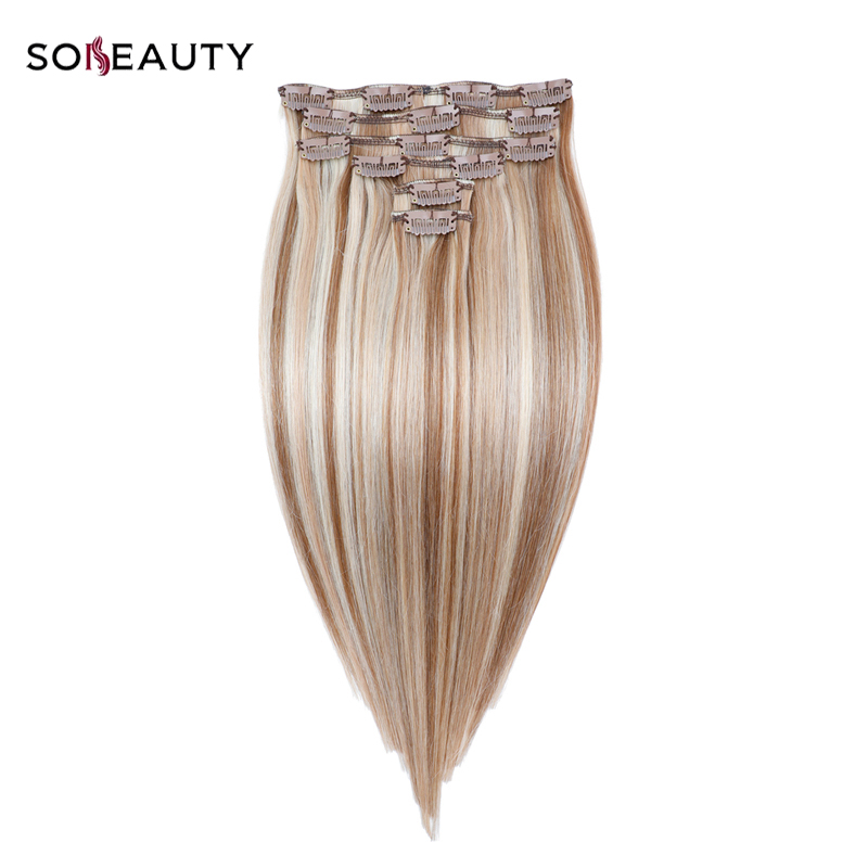 sobeauty 120G/set 14''16''18''20''22'' Machine Made Remy Clip In  Human Hair Extensions P10/16/613 Double Drawn Clip hair(China)