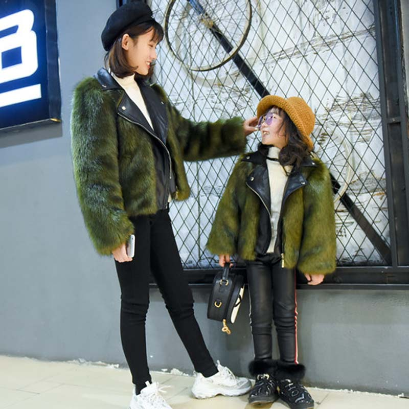 2-13 years old girls fur coat Custom Korean fur coat Korean imitation fox fur short Slim parent-child women's wear fur coat coat liquorishpage href page 13
