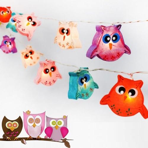 New Animal Owl Handmade Lantern String Lights M Girls Birthday - String lights for kids bedroom