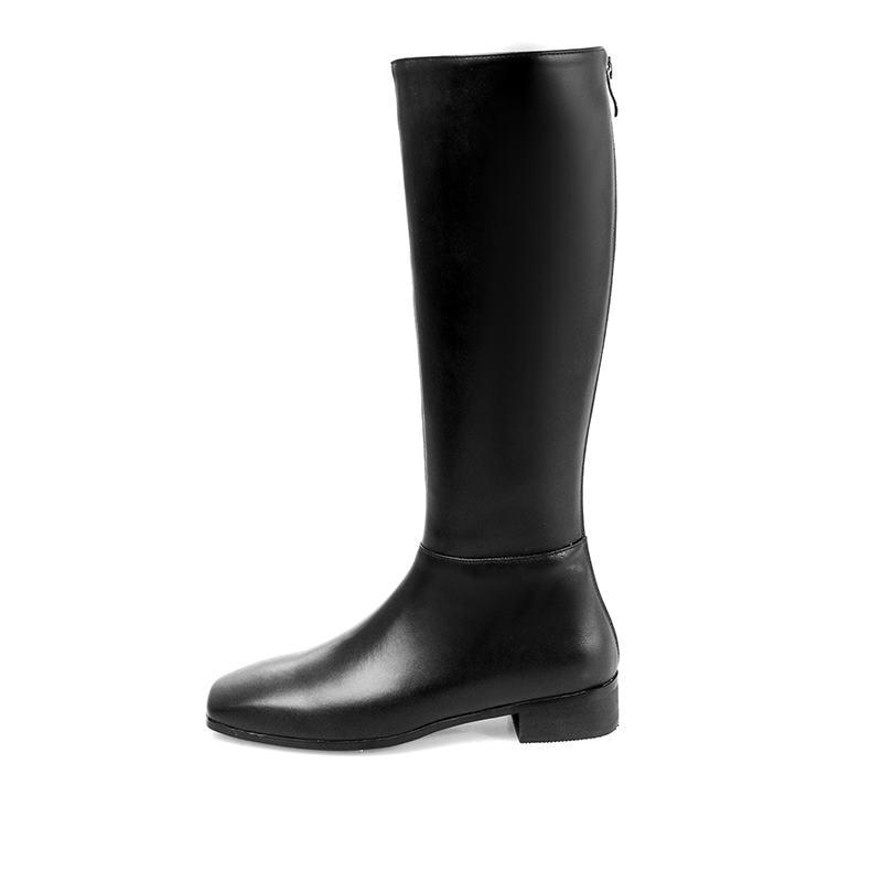 Hiver Knee En Carré Toe Femme Memunia Chaussures Chaude Arrivent Black Pu High Automne Nouveau Cuir Bottes Véritable 2018 Vente Wva7vqn8pF